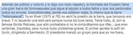 Entrevista dada pelo jogador ao jornal Clarín