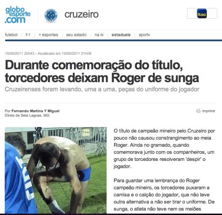 Cruzeirenses Marias comemoram título arrancando a roupa do Roger em comemoração à união civil homossexual