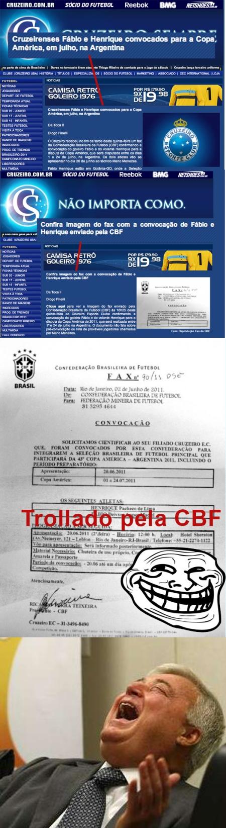 CBF engana o Cruzeiro e dá uma trollada nas Marias