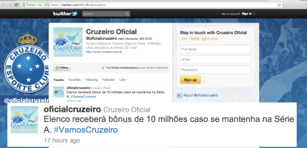 Cruzeiro é chacota no Twitter mais uma vez