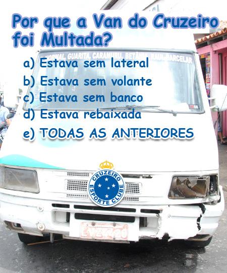 Van com time do Cruzeiro é parada em Blitz e multada